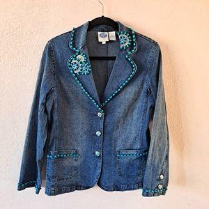 Diane Gilman Denim Embellished Blazer